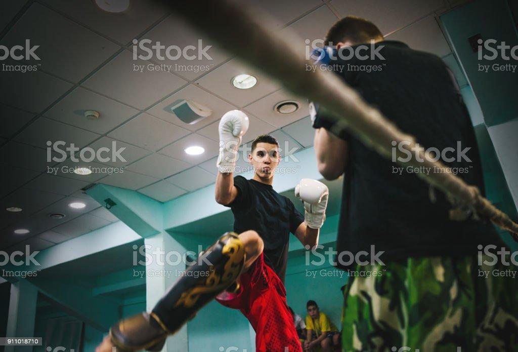 kickboxing training for child stock photo
