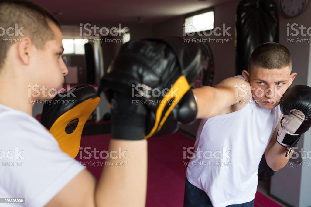 Kickboxing training stock photo