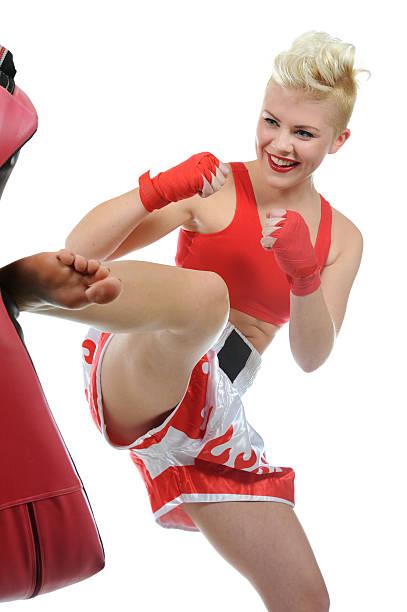 Kickboxing workout stock photo