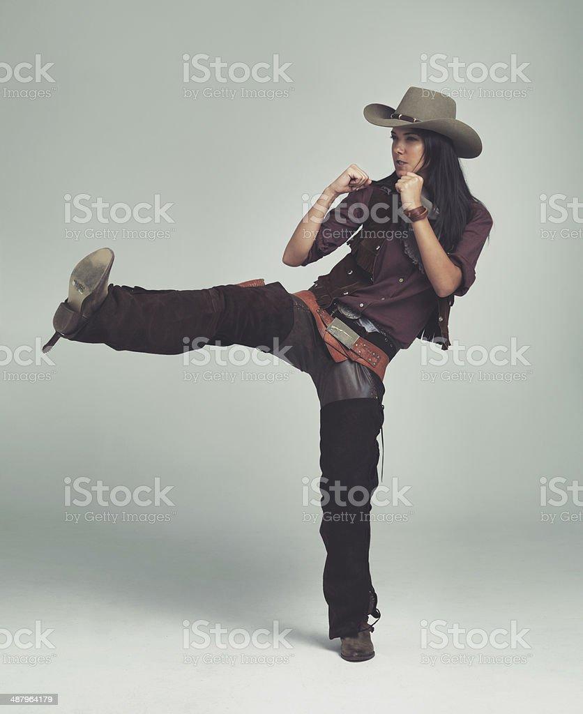 Kickin' ass and takin' names! stock photo