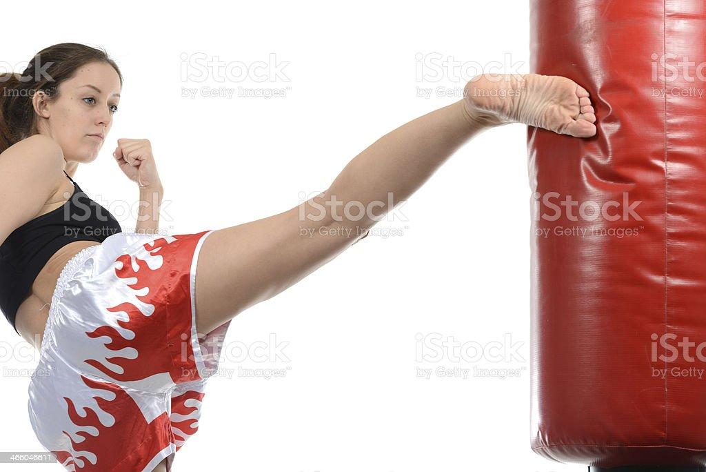 Kicking into shape stock photo
