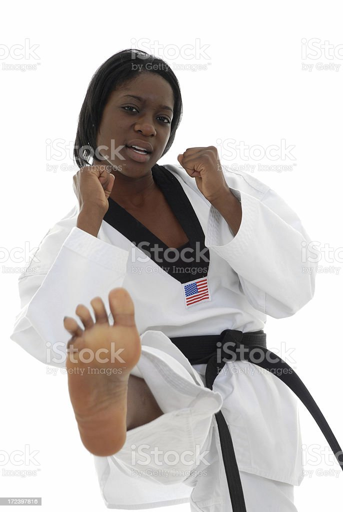 Kicking with emphasis stock photo