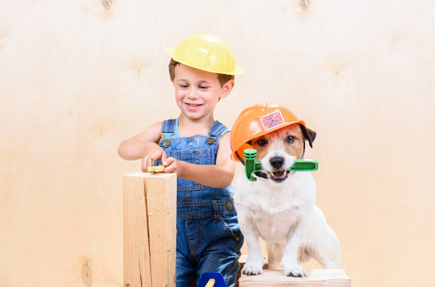 Kid and his pet at construction site working as builders stock photo