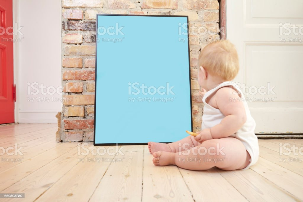 Kid and Mock up poster stock photo