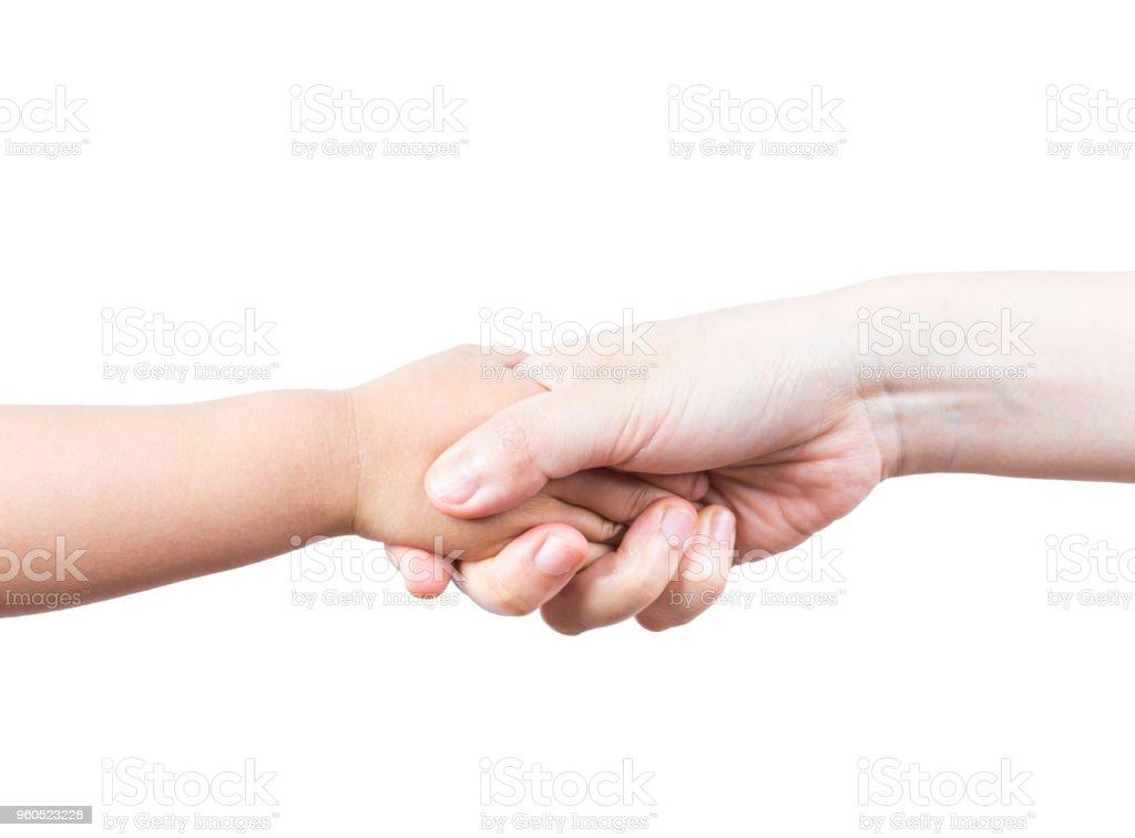 Kid and mother handshake stock photo