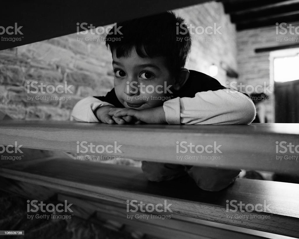 Kid and the Stairs stock photo