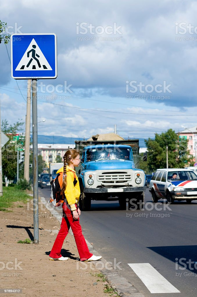kid at road royalty-free stock photo