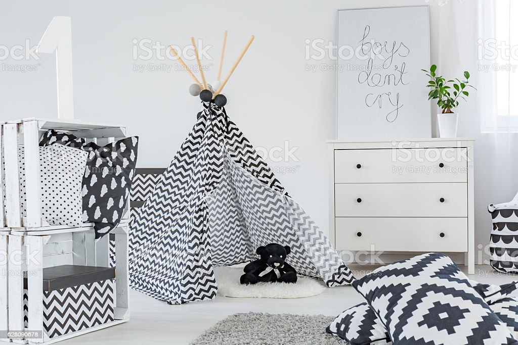 Kid bedroom with play tent stock photo