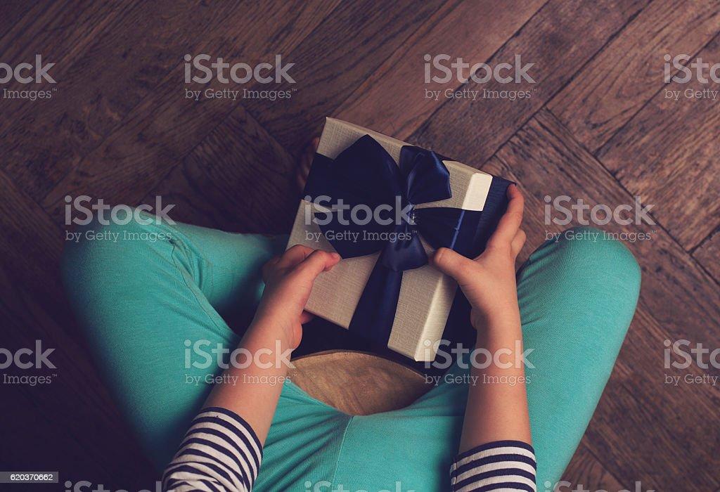 Kid bored for Christmas zbiór zdjęć royalty-free