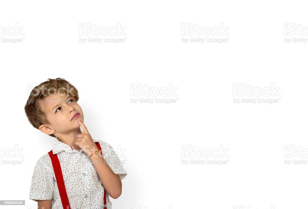 Kid Boy Protrait Thinking Face – Foto