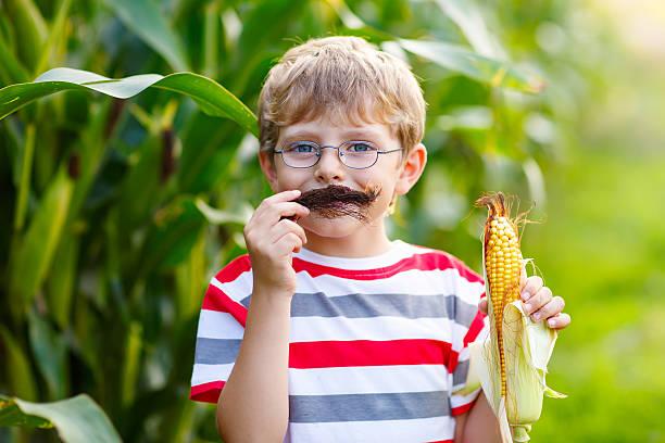 kind junge mit mais spaß haben mit schnurrbart - rustikaler hinterhof stock-fotos und bilder
