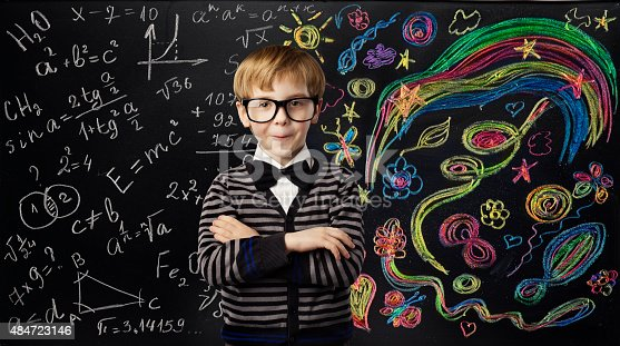 istock Kid Creativity Education Concept, School Child Learning Art Mathematics Formula 484723146