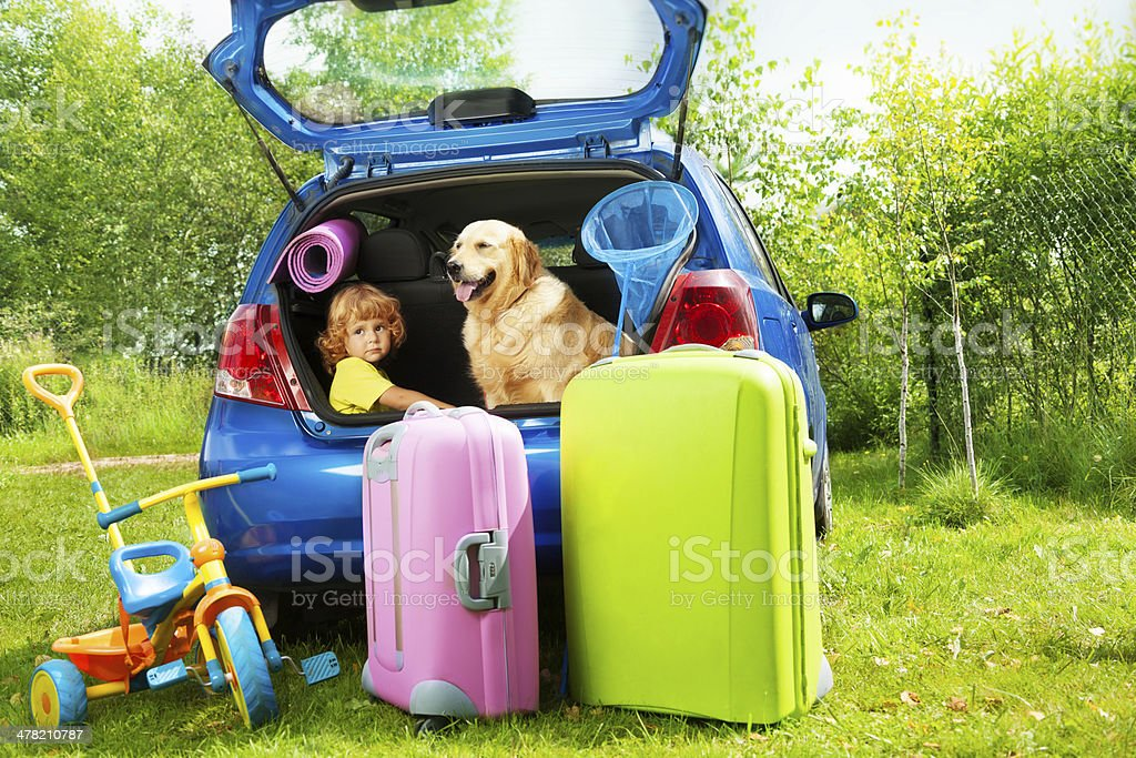 Kid, dog and luggage waiting for depature stock photo
