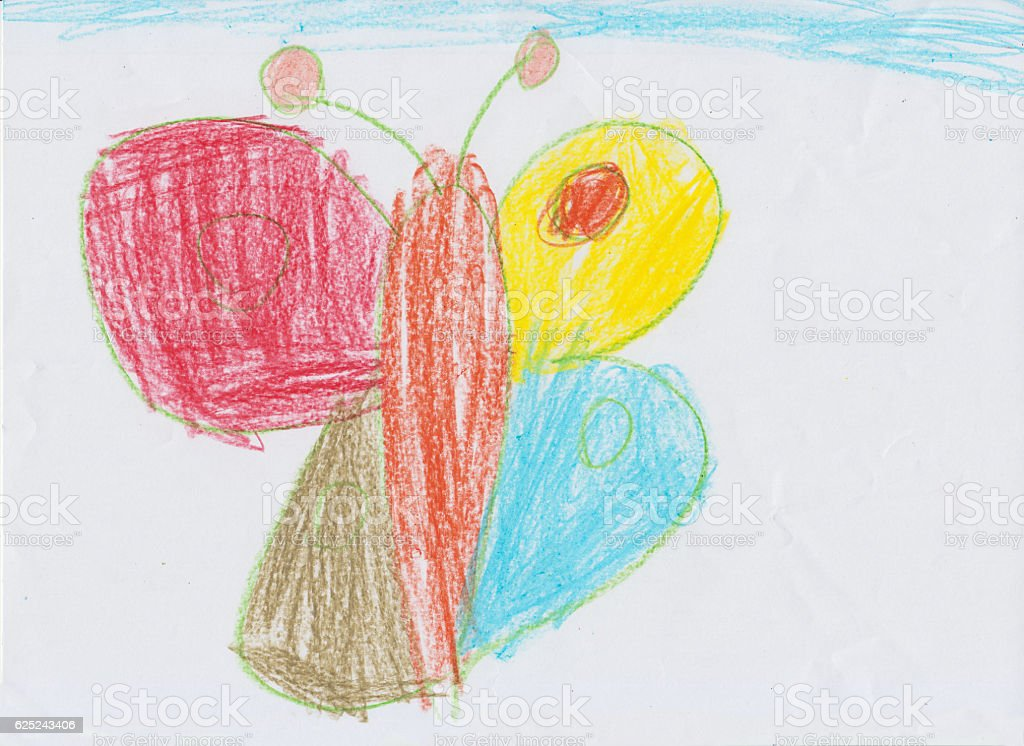 Kid Drawing of a butterfly stock photo
