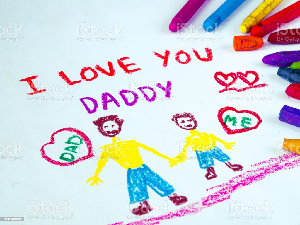 Kid Drawing Of Father Holding His Child For Happy Fathers Day Theme With I LOVE YOU