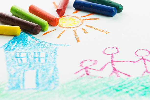 kind zeichnung - naive malerei stock-fotos und bilder