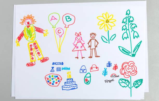 kid ritningar uppsättning födelsedag part element isolerad på vit bakgrund. - animal doodle bildbanksfoton och bilder