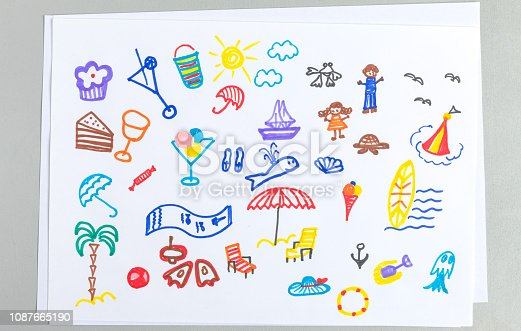 istock Kid drawings set of different summer beach vacation accessories and elements. 1087665190