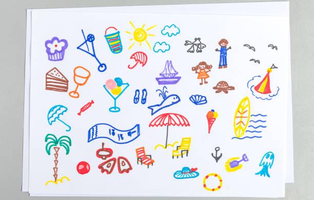 kid ritningar uppsättning olika sommaren beach semester tillbehör och element. - animal doodle bildbanksfoton och bilder