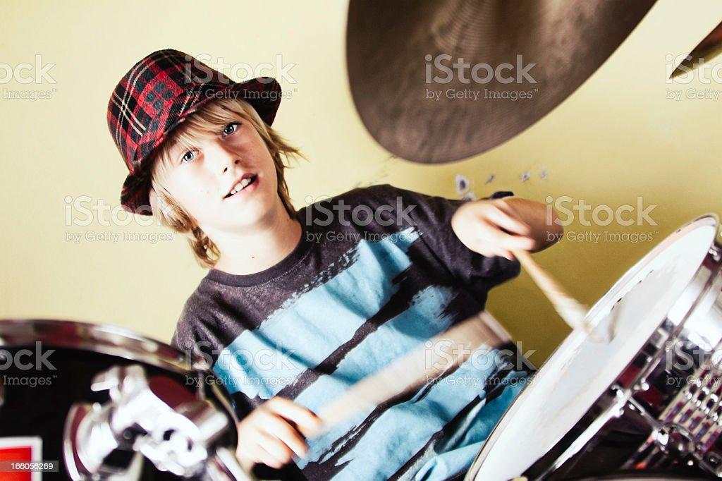 Kid Drummer stock photo