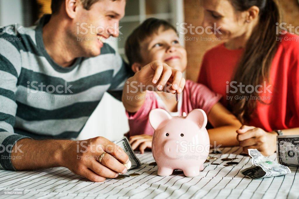 子供の将来のためのお金を稼ぐ ロイヤリティフリーストックフォト