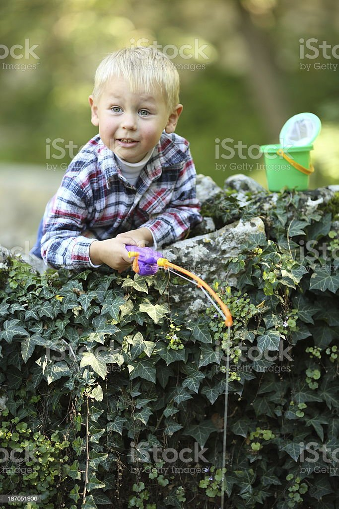 kid fishing royalty-free stock photo