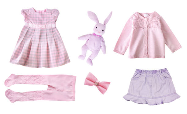 Kid girl fashion clothes isolated. stock photo