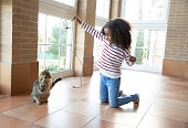 Ethnic kid girl playing with cat holding usb cable at home interior