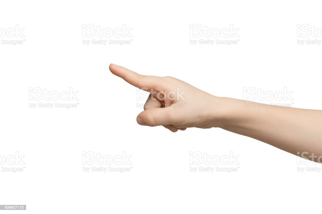 Kid hand pointing with index finger isolated stock photo