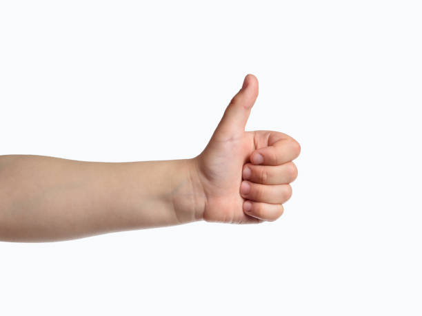 Kid hand show thumbs up sign. Like symbol Kid hand show thumbs up sign. Like symbol approbation stock pictures, royalty-free photos & images