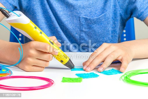 1082038948 istock photo Kid hands creating with 3d printing pen new object 1189109178