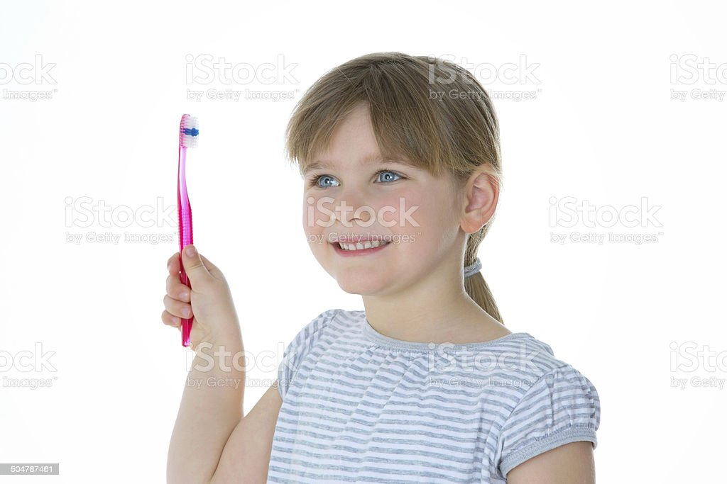 kid happy for oral care stock photo