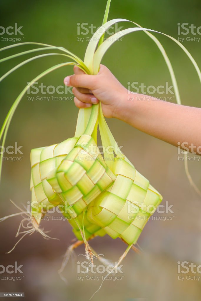 Kid holding a ketupat (rice dumpling) a traditional malay food for eid mubarak. stock photo