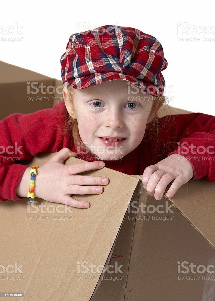 Kid in a Carton royalty-free stock photo