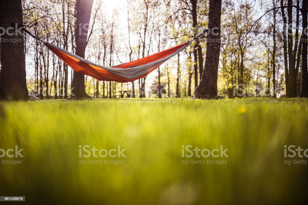 Kid in a public park playing in a hammock stock photo