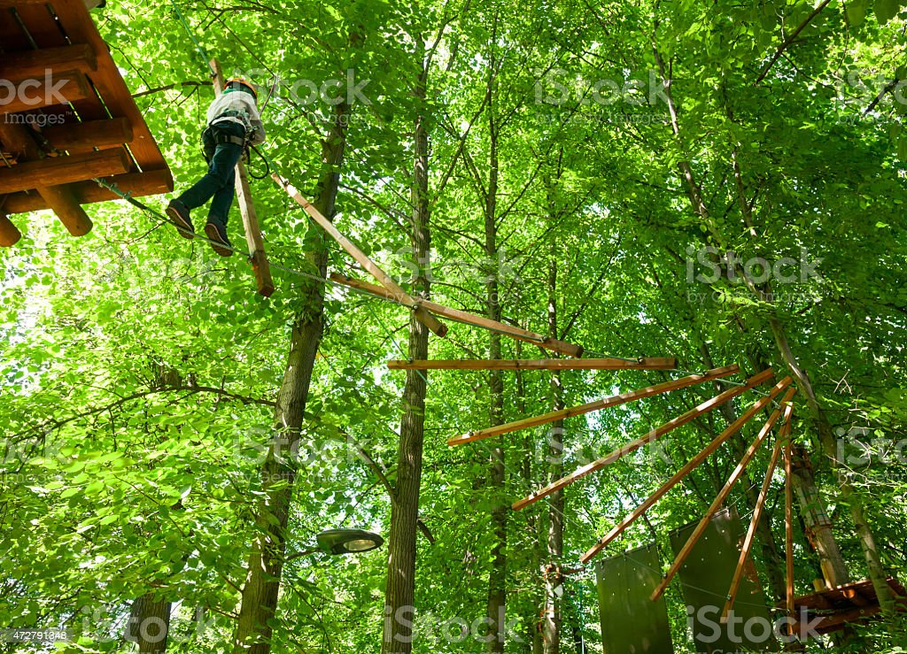 Kid in a treetop adventure park stock photo