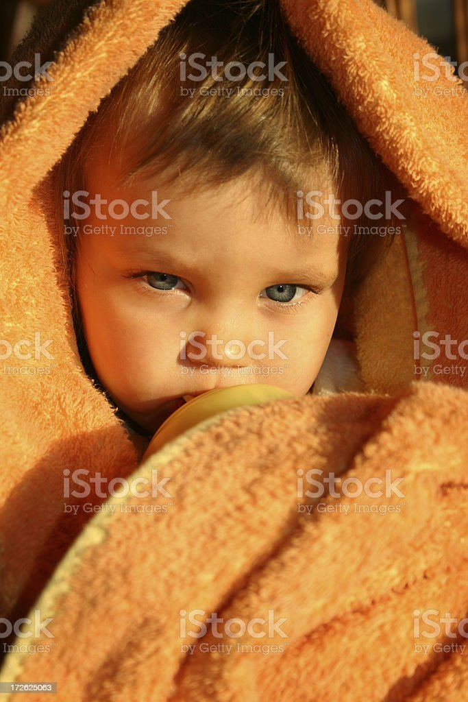 Kid in Towel after Bathing royalty-free stock photo