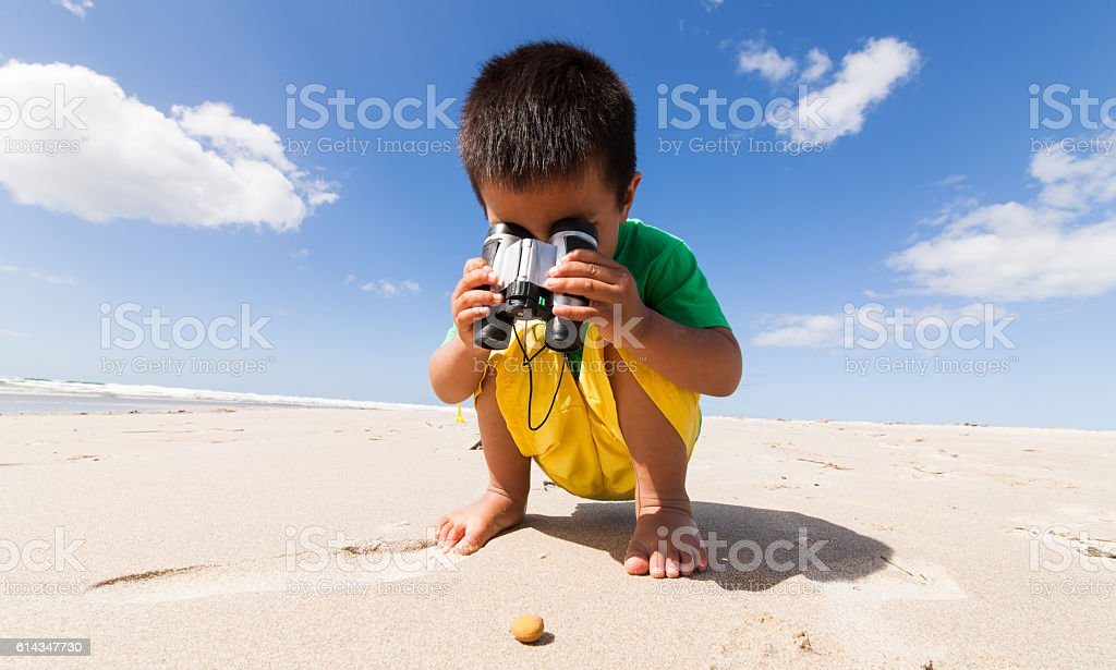Kid inspecting shell at beach. stock photo