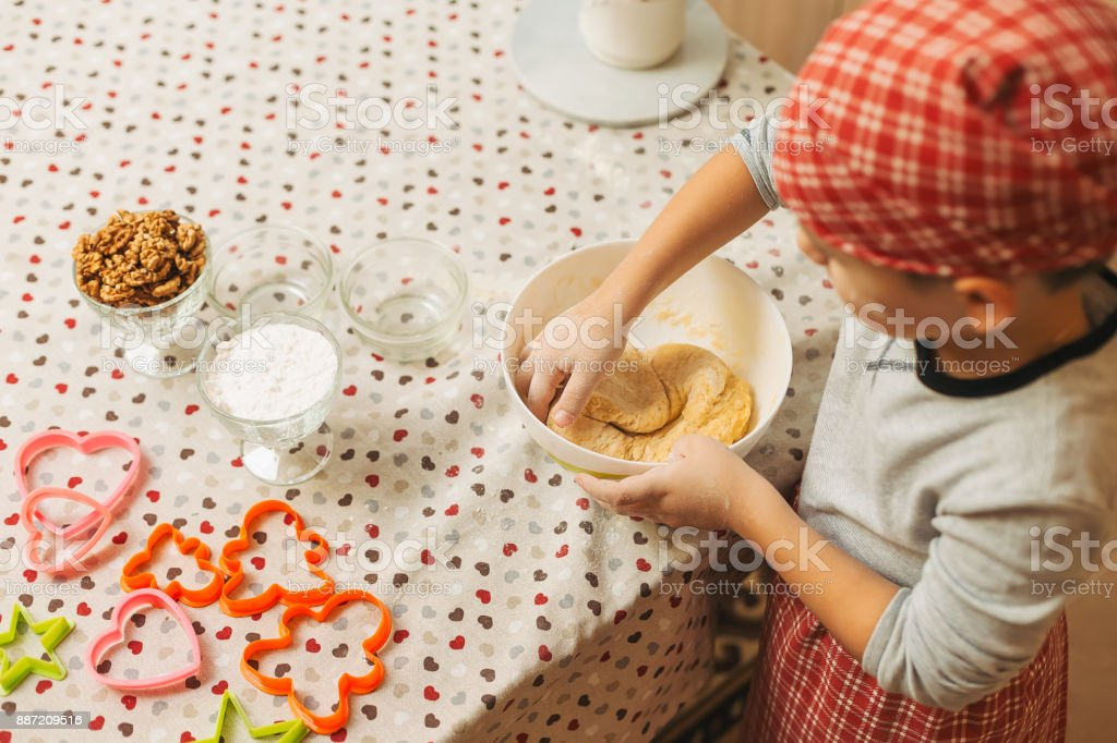 Kid Mixing Dough With Hands For Christmas Cookies Stock Photo & More ...