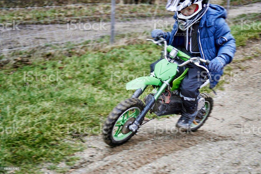 Kid on Motocross Bike stock photo