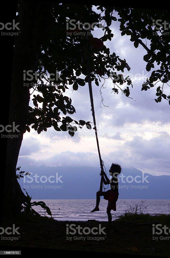 Kid on Swing Borneo Coast royalty-free stock photo