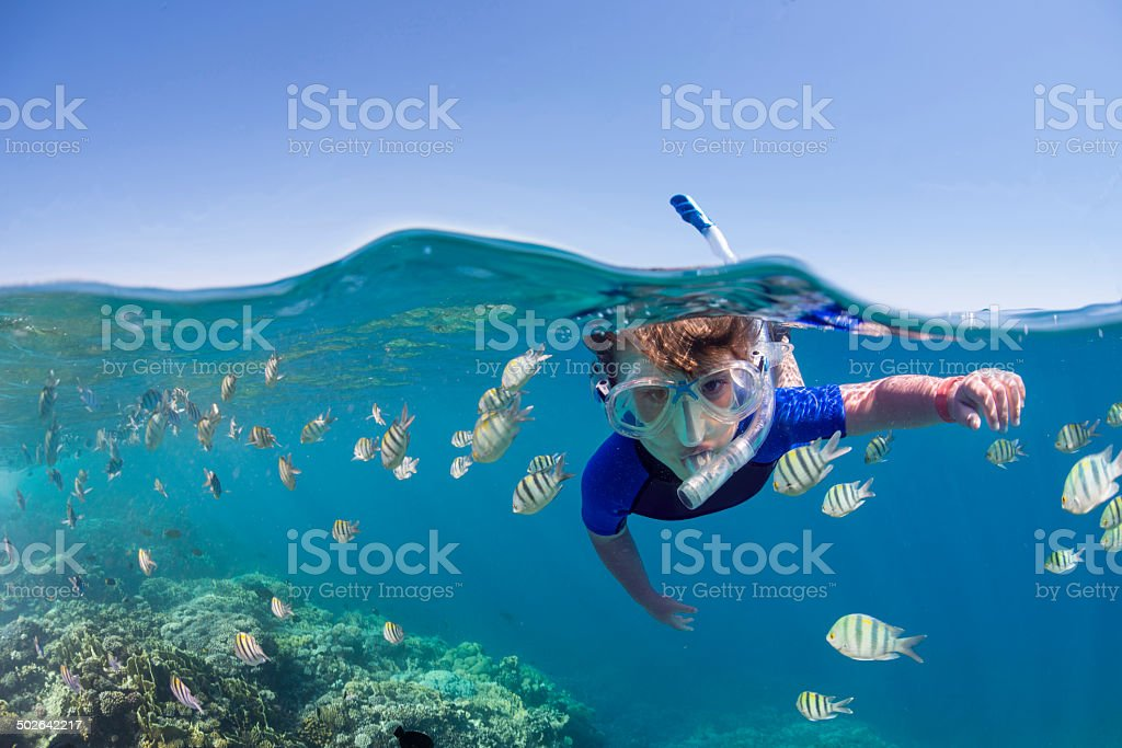 Kid on the reef stock photo