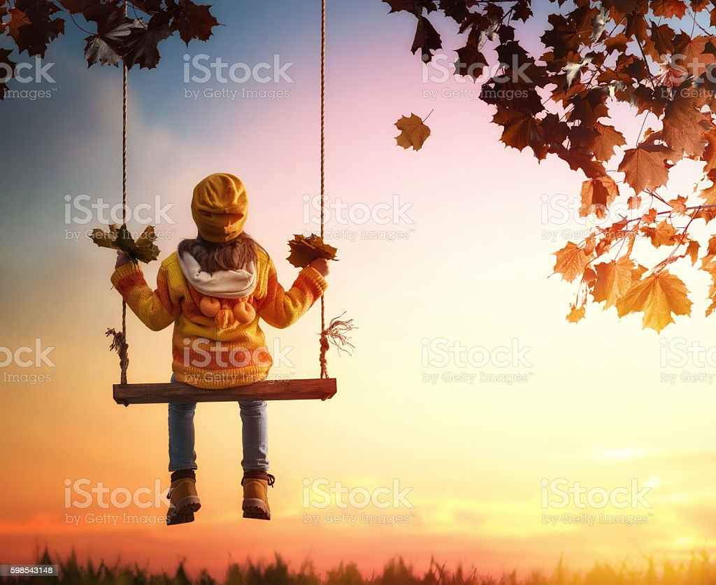 kid playing in the autumn photo libre de droits