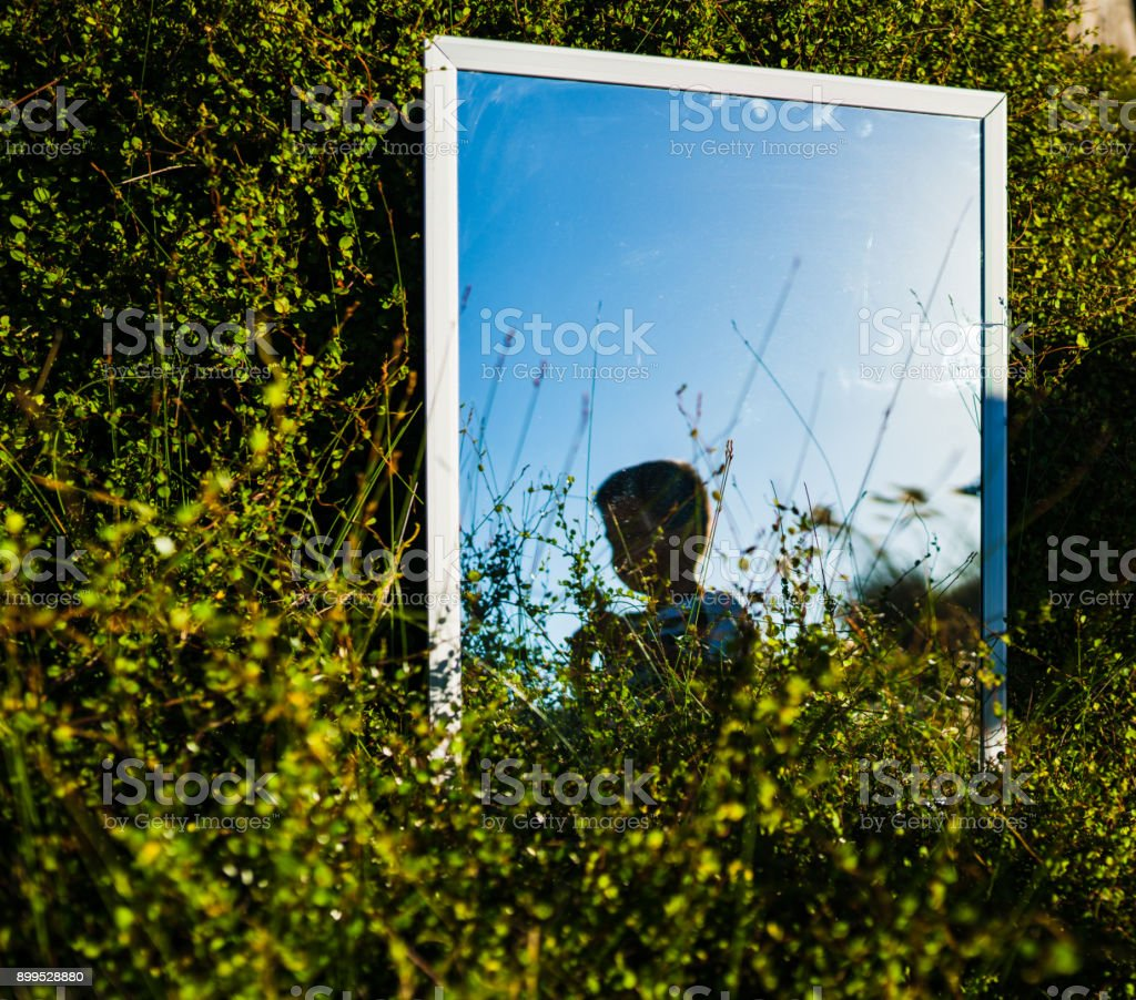 Kid reflecting through mirror placed in lush foilage. stock photo