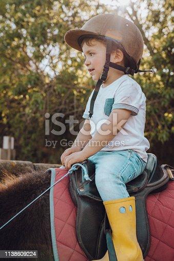 Kid riding pony.