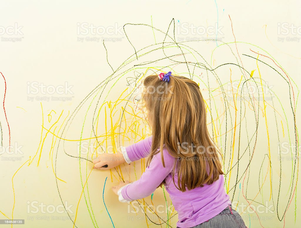 Scribble Drawing For Kids : Kid scribble on the wall stock photo more pictures of years