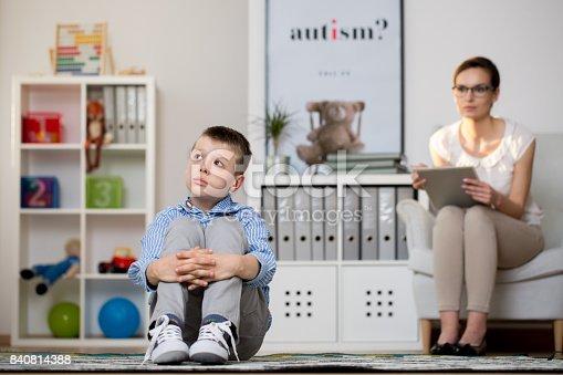 istock Kid sick of autism 840814388