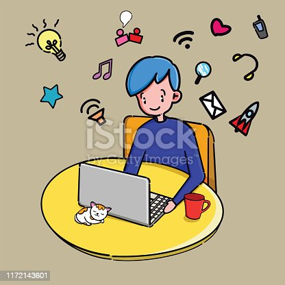 850892616 istock photo Kid sitting studying online using his computer 1172143601