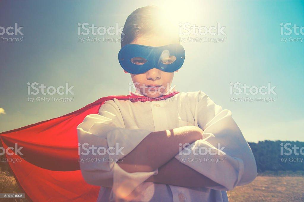 Kid superhero concept stock photo