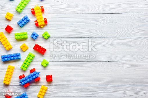 Kid toys background. Copy space for text
